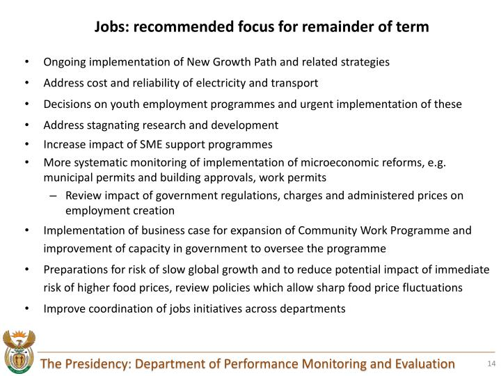 Jobs: recommended focus for remainder of term