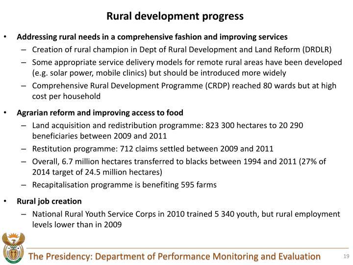 Rural development progress