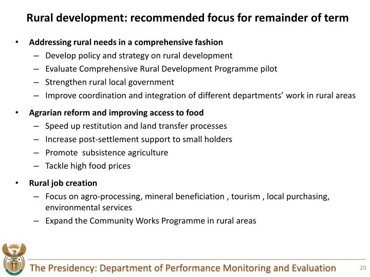 Rural development: recommended focus for remainder of term