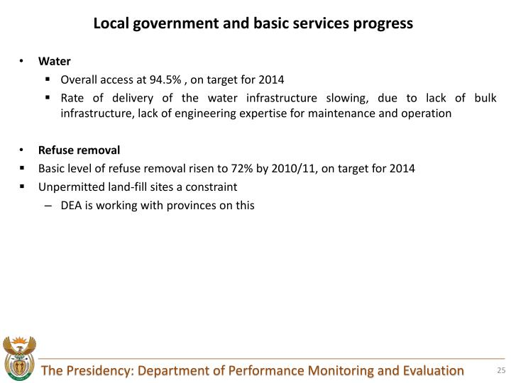 Local government and basic services progress