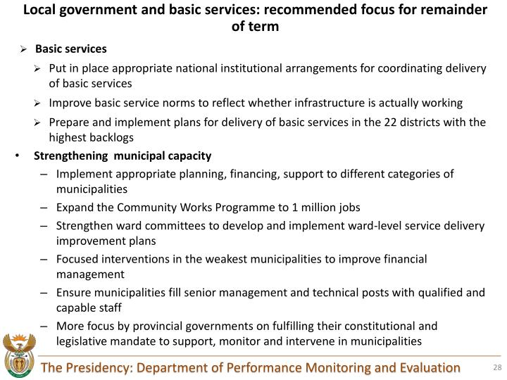 Local government and basic services: recommended focus for remainder of term