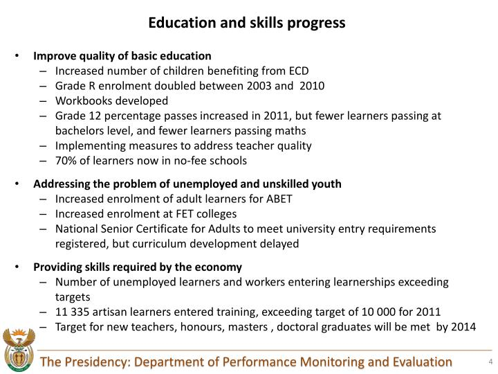 Education and skills progress