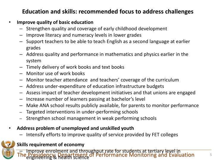Education and skills: recommended focus to address challenges