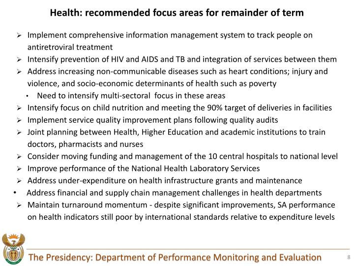 Health: recommended focus areas for remainder of term