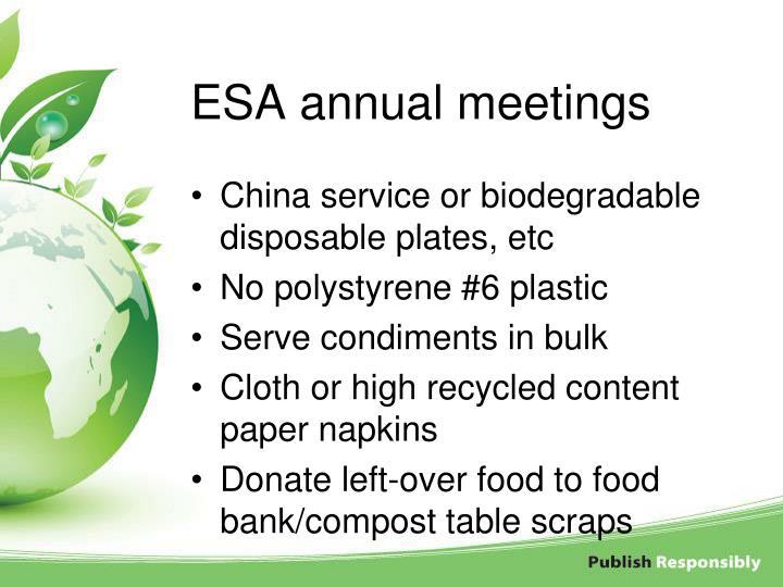 ESA annual meetings
