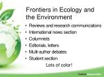 frontiers in ecology and the environment1