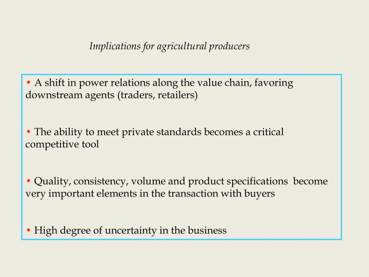 Implications for agricultural producers
