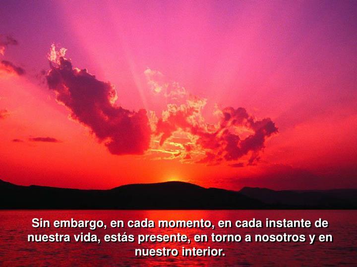 Sin embargo, en cada momento, en cada instante de nuestra vida, estás presente, en torno a nosotros y en nuestro interior.