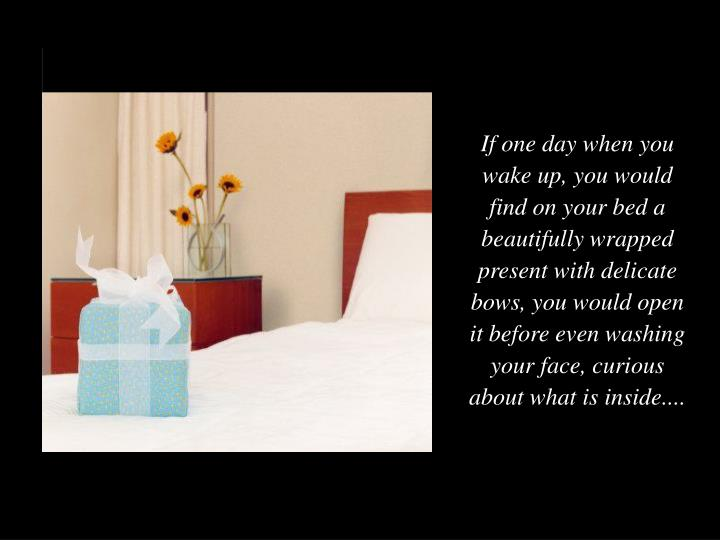 If one day when you wake up, you would find on your bed a beautifully