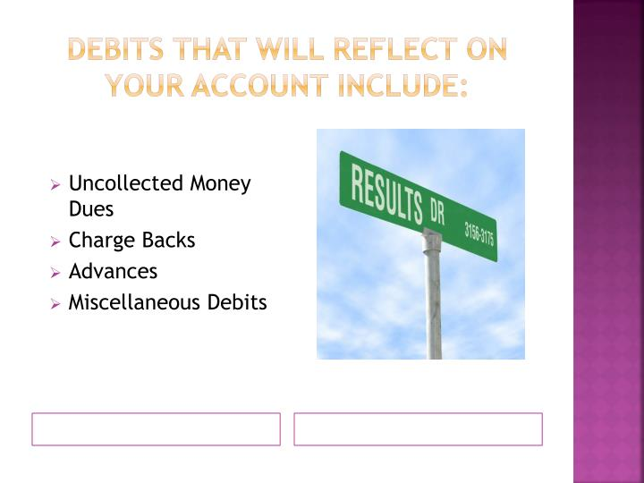 Debits that will reflect on your account include: