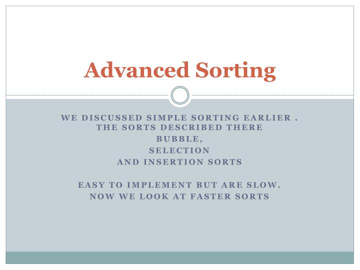 Advanced sorting