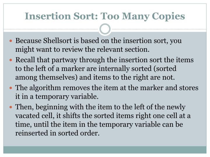 Insertion Sort: Too Many Copies