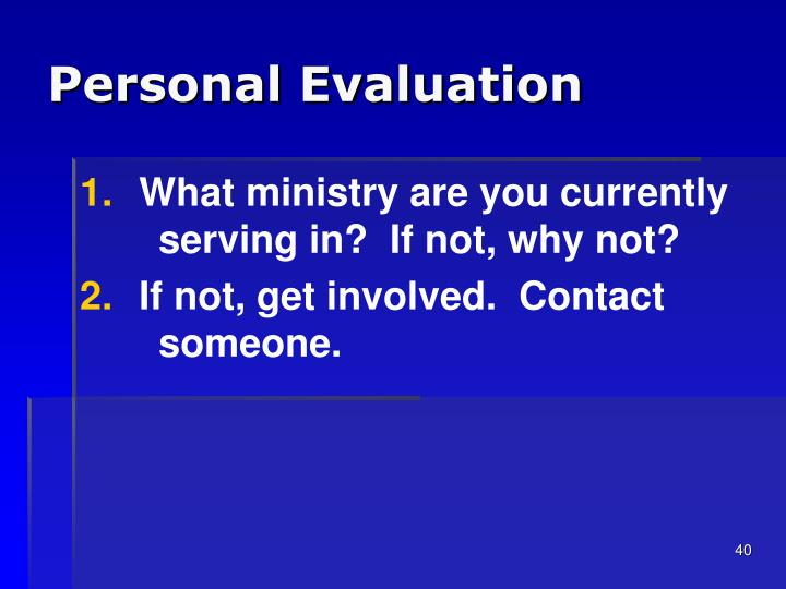 Personal Evaluation