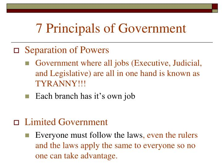 7 Principals of Government