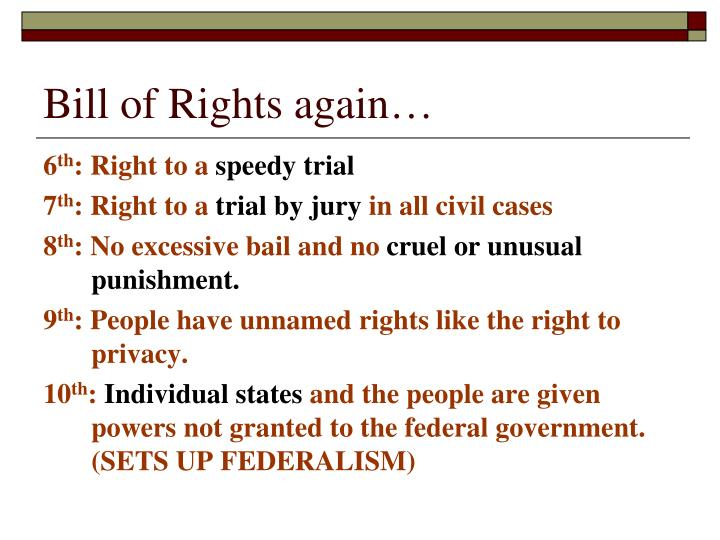 Bill of Rights again…