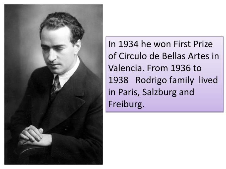 In 1934 he won First Prize of