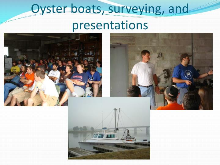 Oyster boats, surveying, and presentations