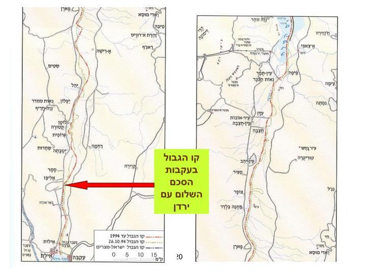 קו הגבול בעקבות הסכם השלום עם ירדן