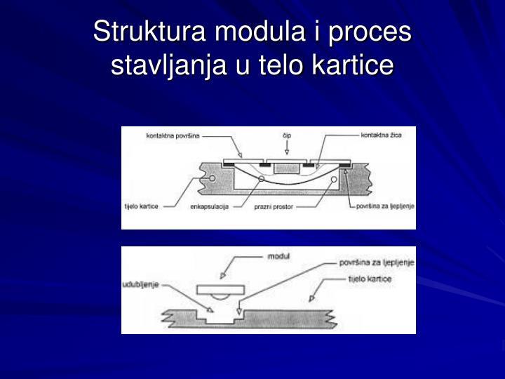 Struktura modula i proces stavljanja u telo kartice