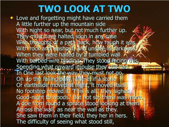 TWO LOOK AT TWO