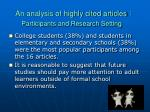 an analysis of highly cited articles participants and research setting