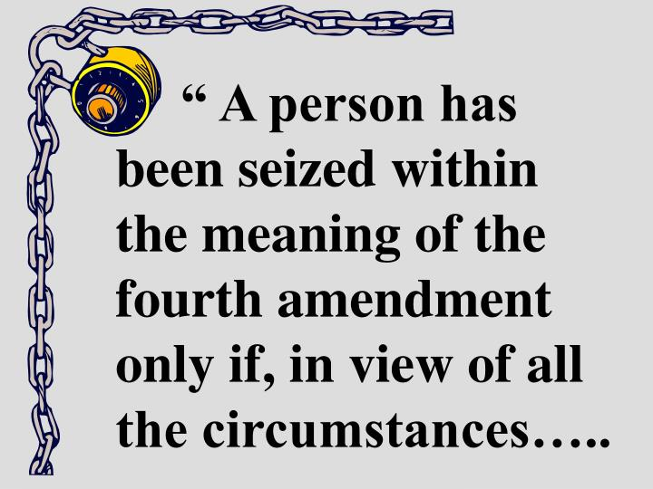 """"""" A person has been seized within the meaning of the fourth amendment only if, in view of all the circumstances….."""