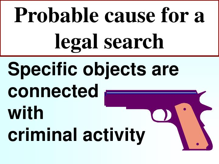 Probable cause for a legal search