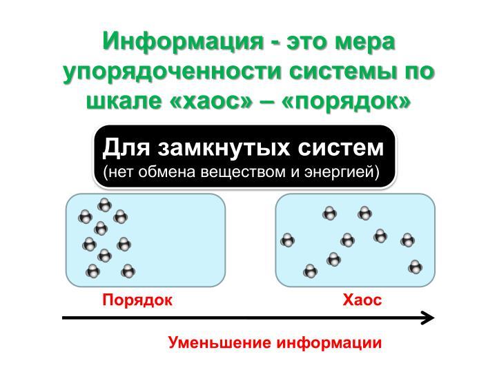 Информация - это мера упорядоченности системы по шкале «хаос» – «порядок»