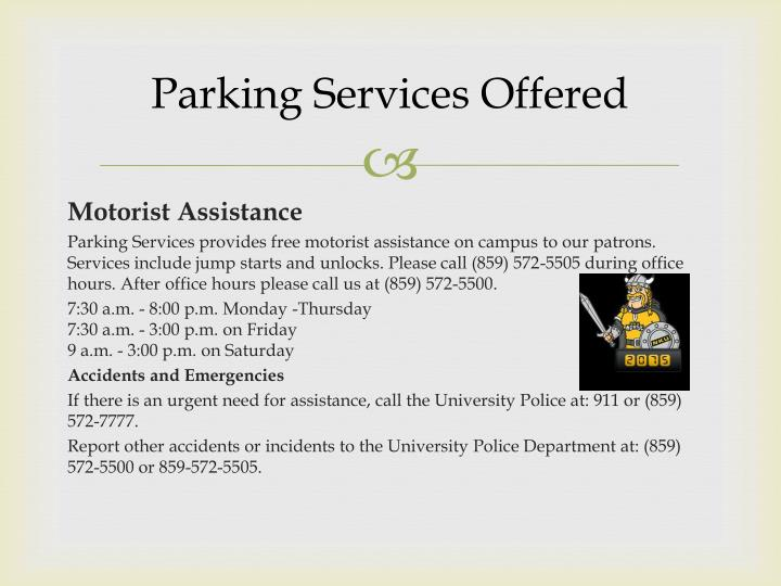 Parking Services Offered