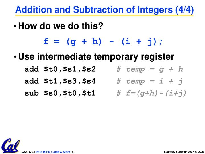 Addition and Subtraction of Integers (4/4)
