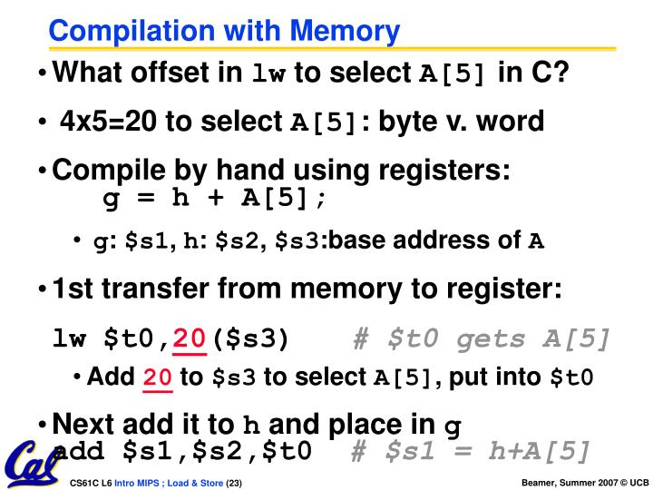 Compilation with Memory