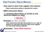 data transfer reg to memory