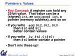 pointers v values
