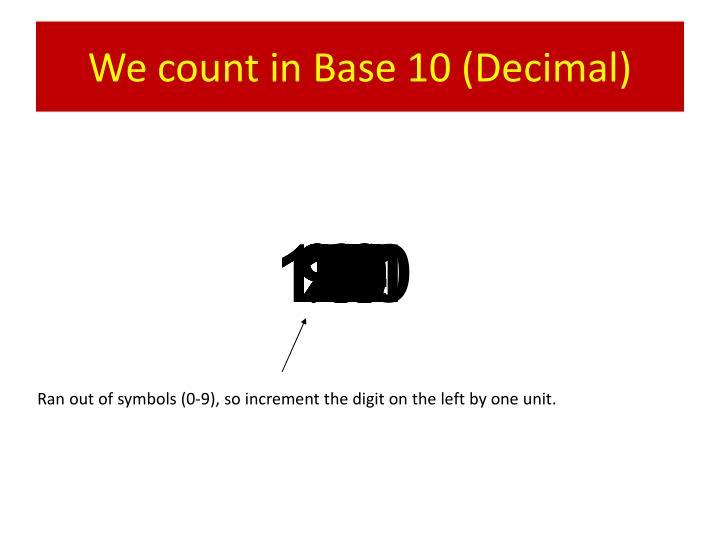 We count in Base 10 (Decimal)