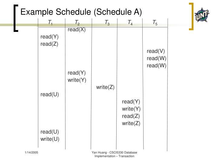 Example Schedule (Schedule A)