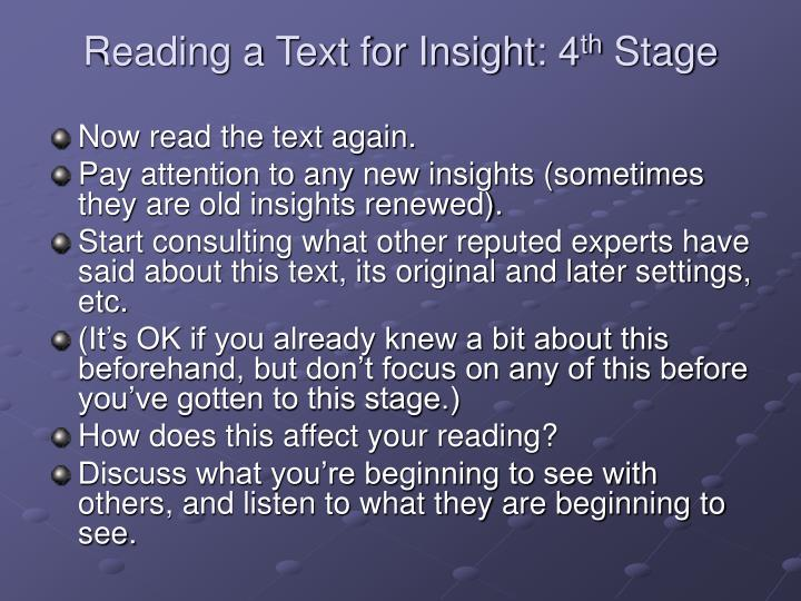 Reading a Text for Insight: 4