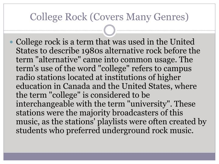 College Rock (Covers Many Genres)