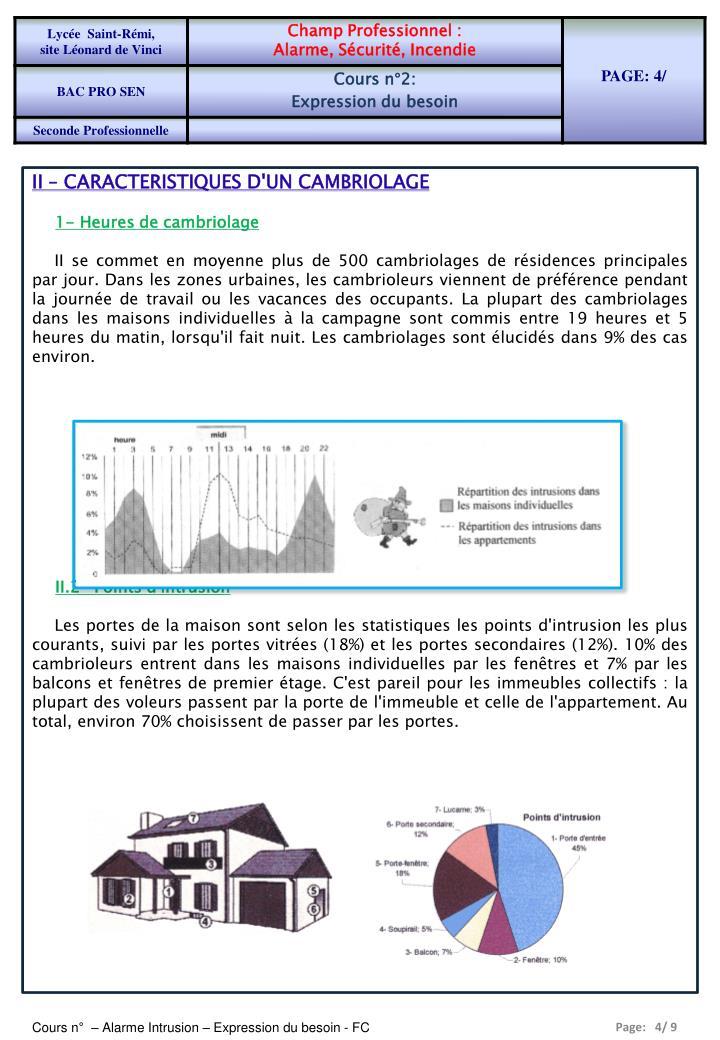 II – CARACTERISTIQUES D'UN CAMBRIOLAGE