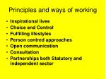 principles and ways of working