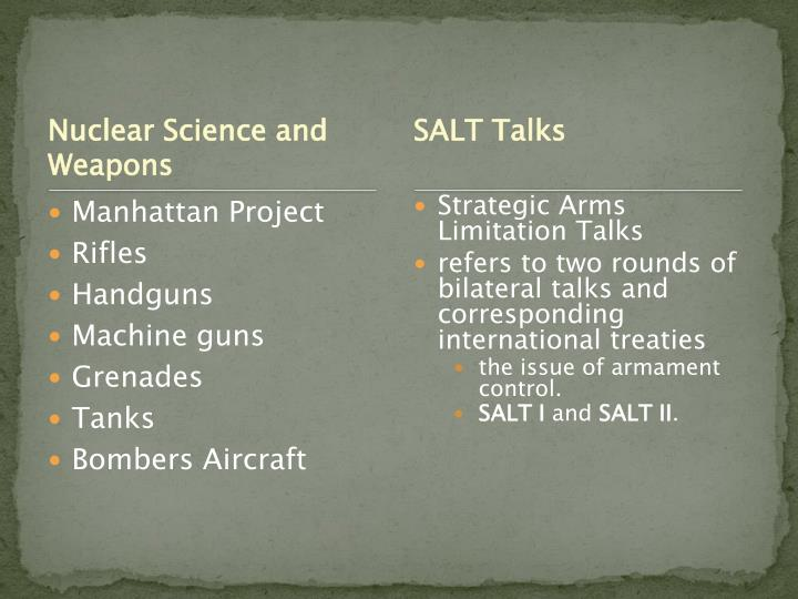 Nuclear Science and Weapons