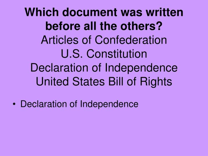 Which document was written before all the others?