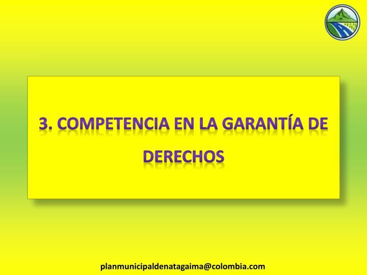 3. COMPETENCIA EN LA GARANTÍA DE DERECHOS