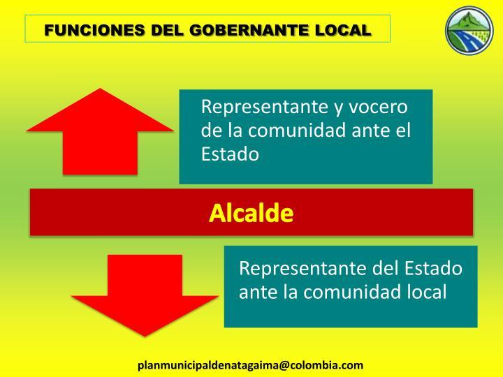 FUNCIONES DEL GOBERNANTE LOCAL