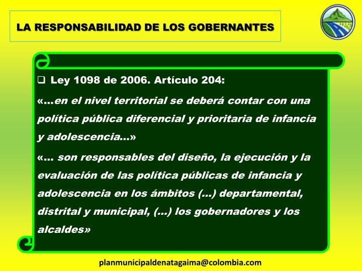 LA RESPONSABILIDAD DE LOS GOBERNANTES