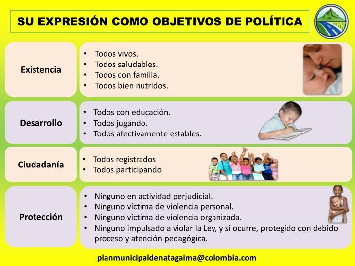 SU EXPRESIÓN COMO OBJETIVOS DE POLÍTICA