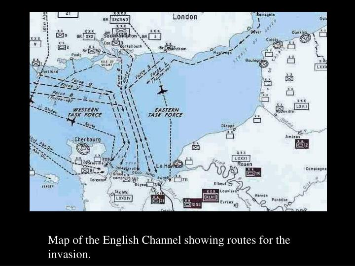 Map of the English Channel showing routes for the invasion.