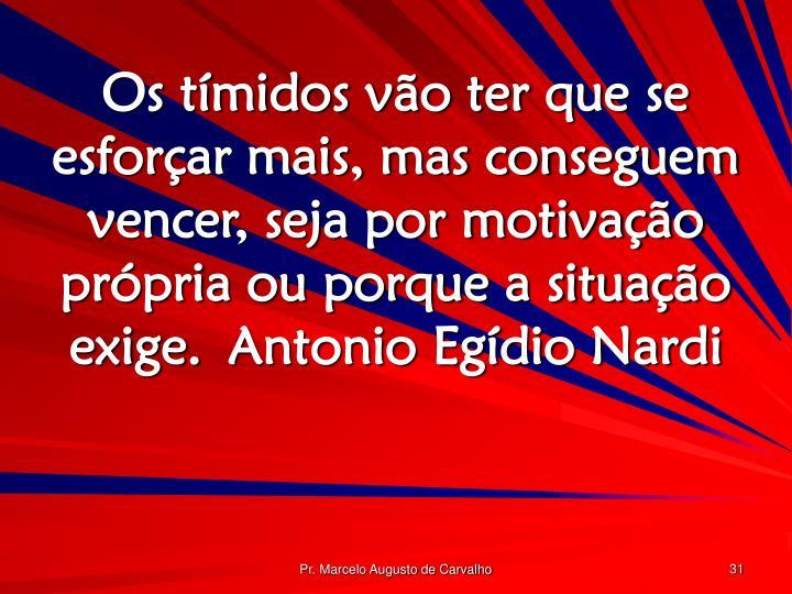 Os tímidos vão ter que se esforçar mais, mas conseguem vencer, seja por motivação própria ou porque a situação exige.Antonio Egídio Nardi