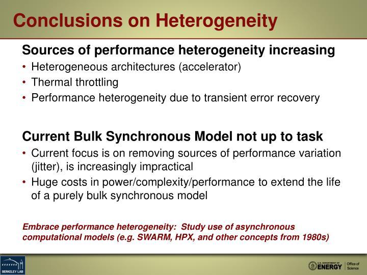 Conclusions on Heterogeneity