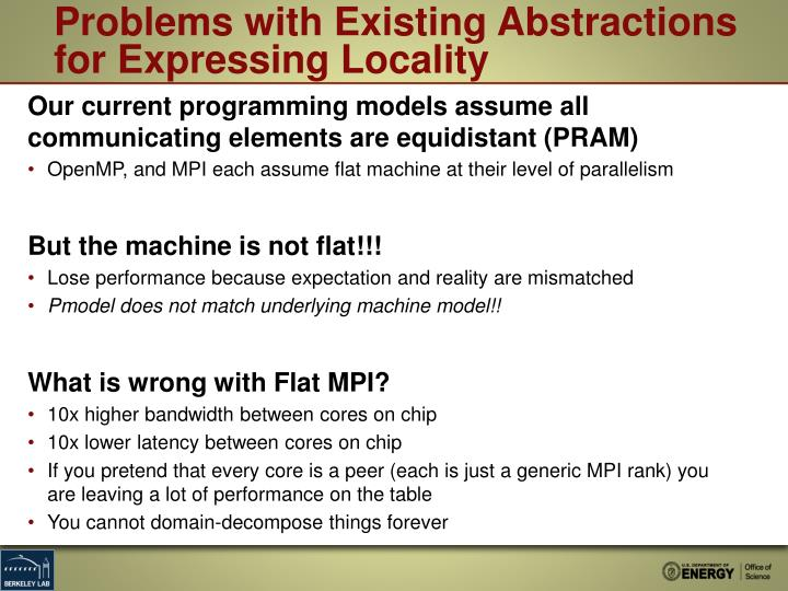 Problems with Existing Abstractions for Expressing Locality