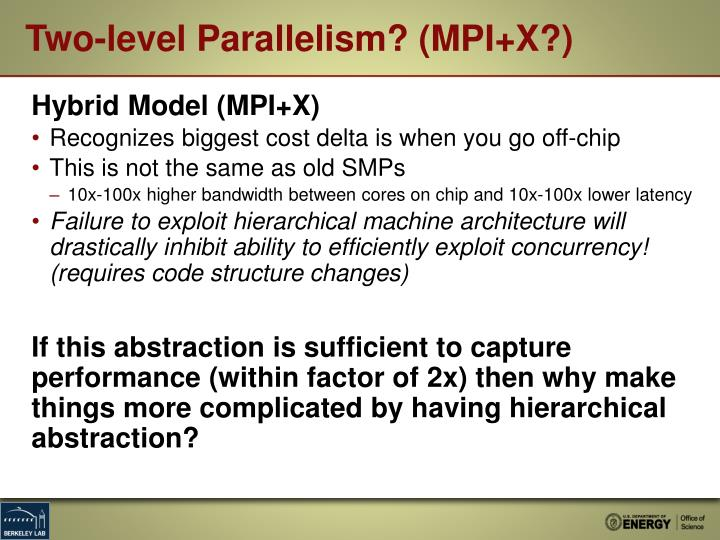Two-level Parallelism? (MPI+X?)